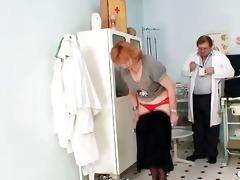 redhead granny messy twat stretching in gyn clinic