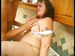 obese broad receives drilled in the kitchen