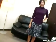 horny asian aged is teasing camera
