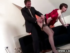 aged lady in suspenders copulates and sucks