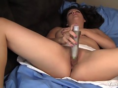 angry lalin angel wife masturbates with a glowing