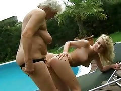 breasty granny enjoys lesbo sex with legal age
