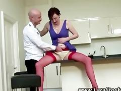 european aged receives her fur pie eaten on