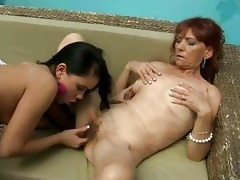 hairy granny enjoys lesbo sex with legal age