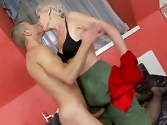 sexy granny enjoys sex with youthful guy