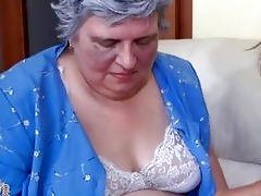 old breasty granny playing with slender cutie