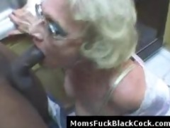 very mature white lady blows large dark ramrod in