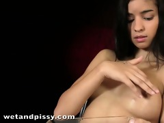 shy latin babe beauty playing in piss