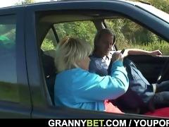 car driver bangs granny