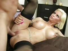 hot blond milf with large milk shakes getting her