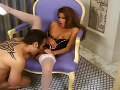 mother i in a bustier and white nylons having sex