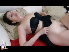 nasty older aged masturbating with toy