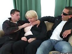 three-some fuckfest with drunk granny
