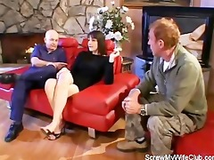 wife fucked on a red ottoman