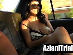 busty dark brown honey public cunt flashing