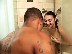 leaking wet honey sucks dark wang in shower