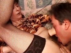 slutty chap licks unshaved bush of his lady
