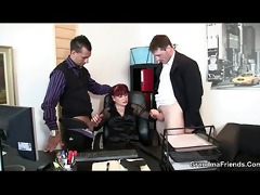 office lady pleases rods