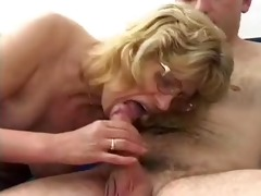 blonde granny in glasses fucks dude