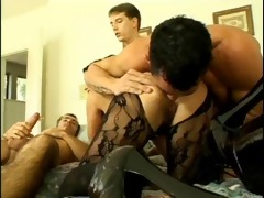 raven haired woman receives screwed by guys