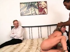 blond wife humiliates spouse with dark paramour
