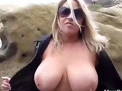 mega boobed mother i flashes & sucks in public